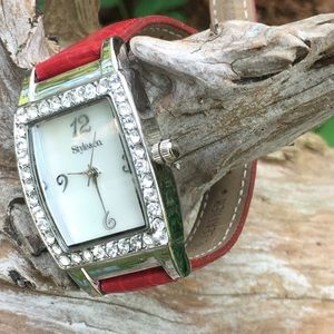 Style & Co. Red/Silver Tone Gemmed Fashion Watch
